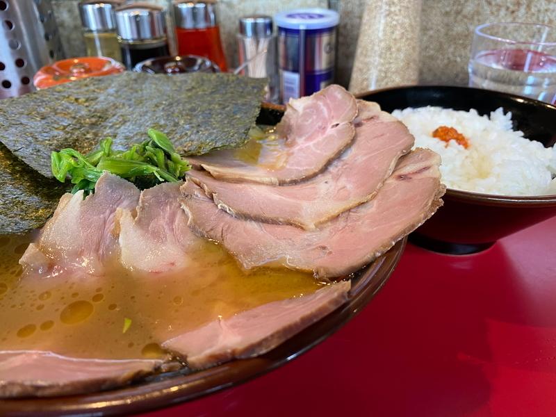麺童虎徹 豚骨醤油らーめん(並)750円+チャーシュー(大)350円+ライス(小)100円