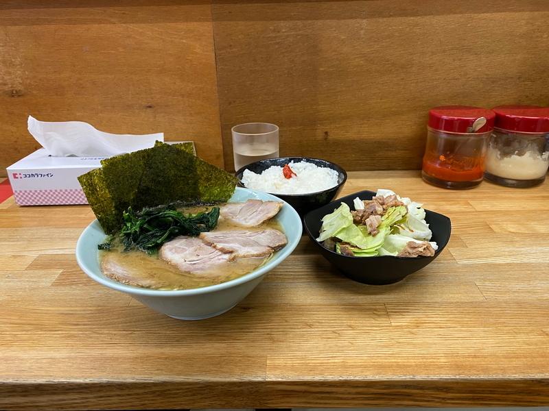 八家 チャーシューメン(850円)+キャベチャー(90円)+ライス(100円)