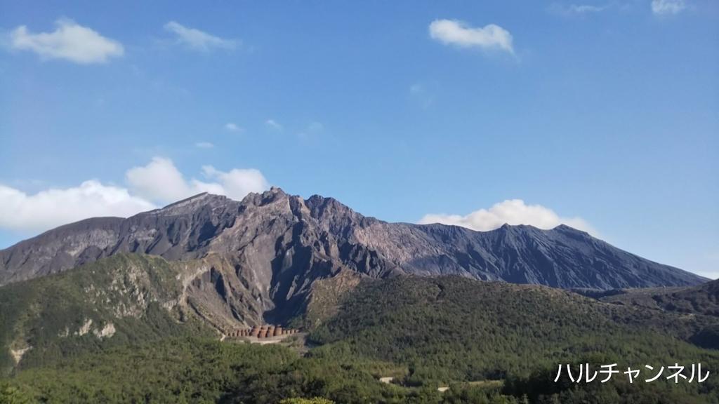 湯平展望台に登って撮った桜島火山