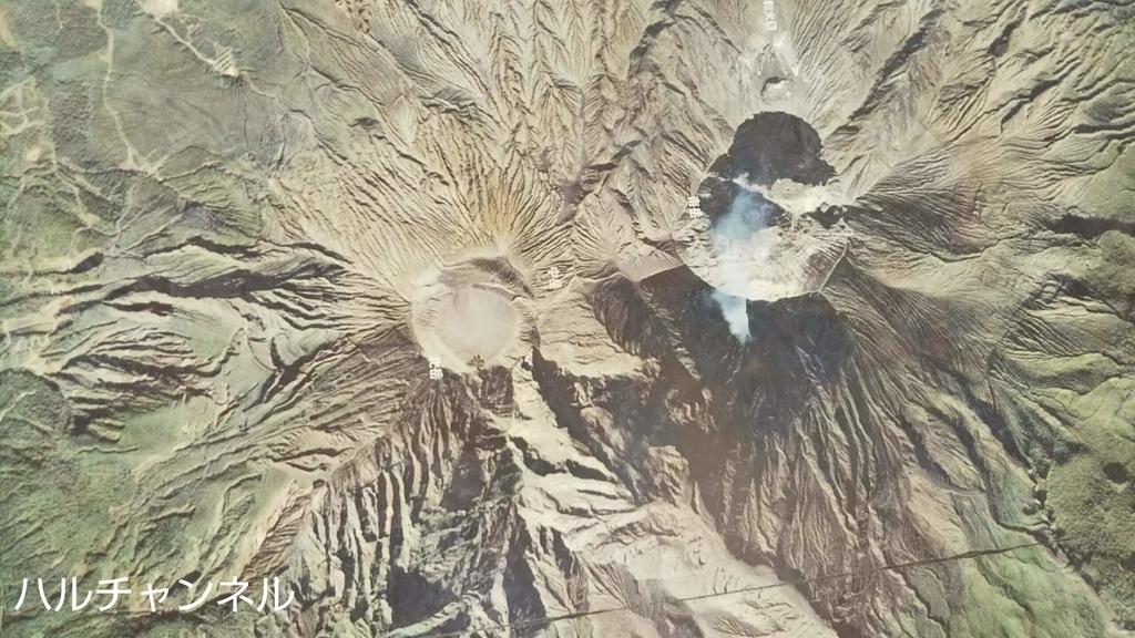 桜島の湯平展望台内の床にある航空写真