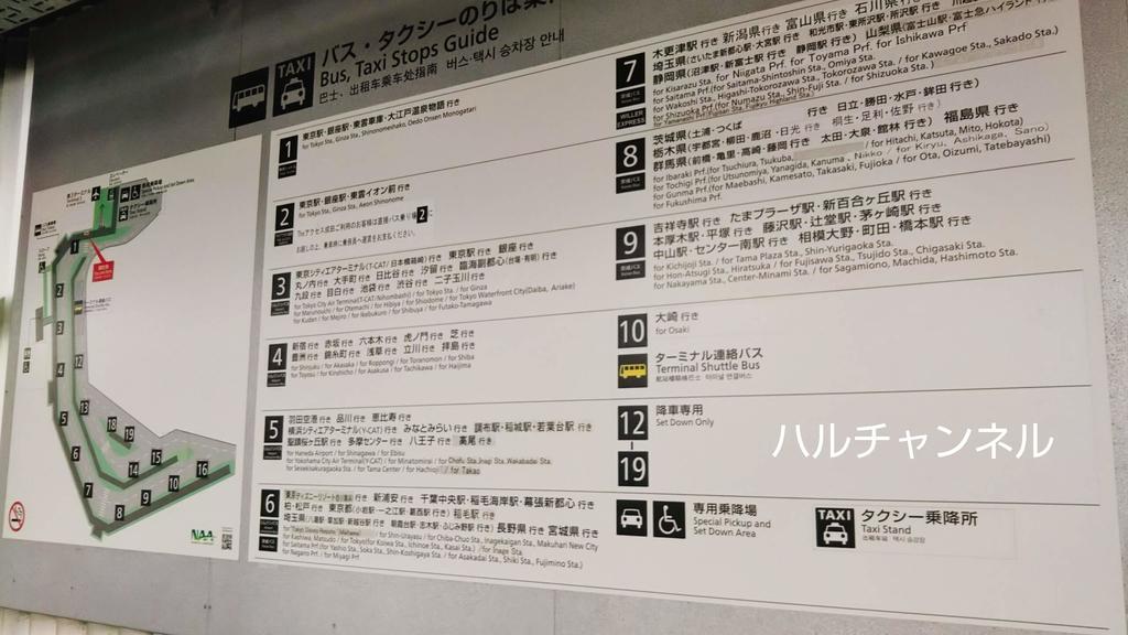 成田空港第三ターミナルからディズニーランドへの行き方『バス編』~バス乗り場表~