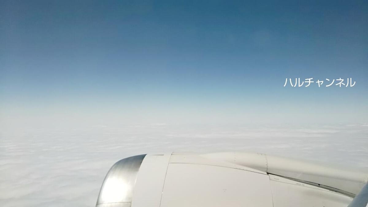 雲の上の飛行機の外の風景