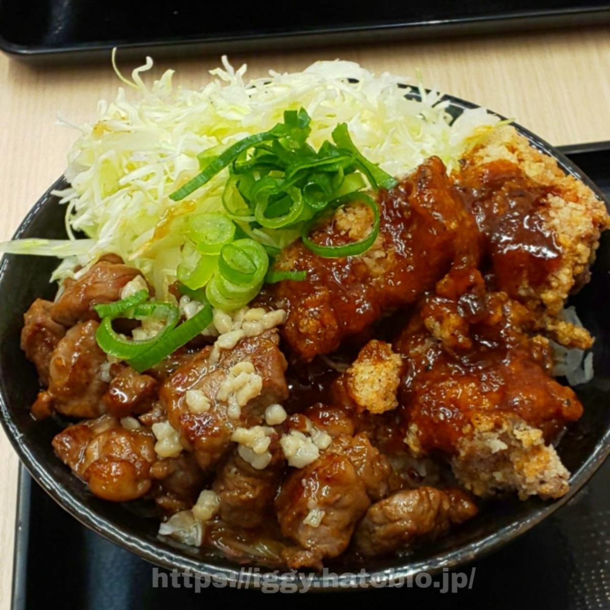 豪快ロックステーキ唐揚げ合盛り丼 iggy2019