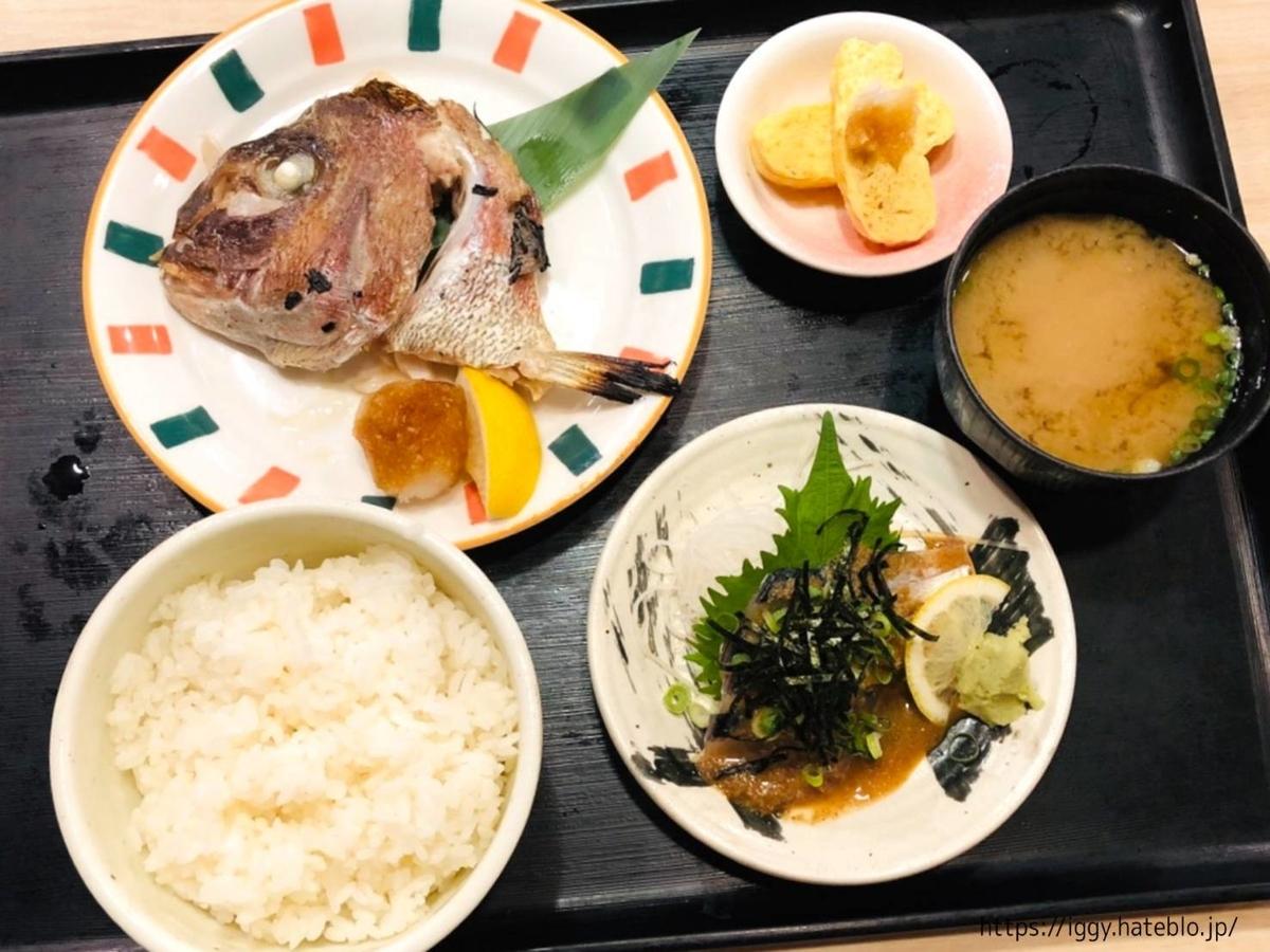 磯っこ商店(天神)「選べる定食」 胡麻サバ 鯛のカマ焼き ランチ LIFE