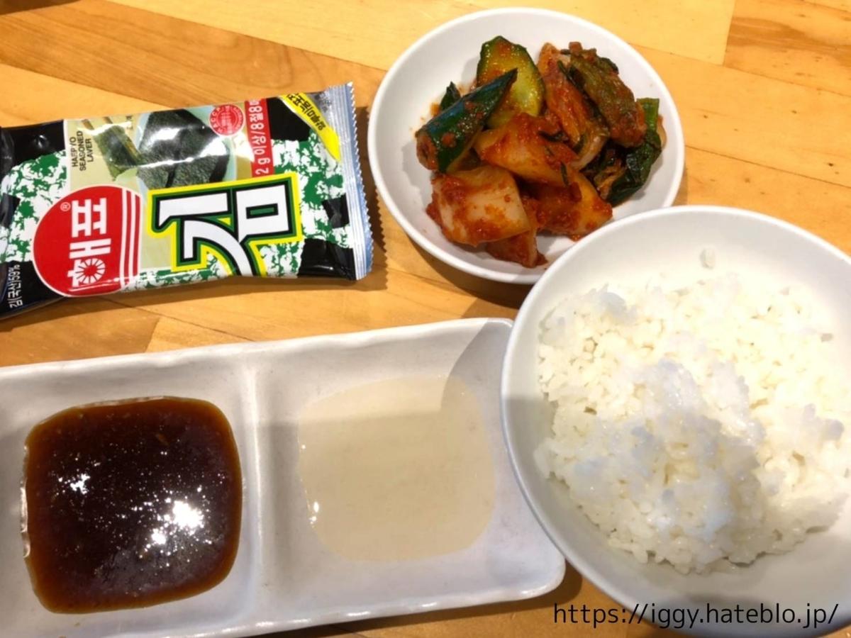 焼肉食べ放題「HACHI HACHI(ハチハチ)」次郎丸店 ご飯、キムチ、韓国のり LIFE