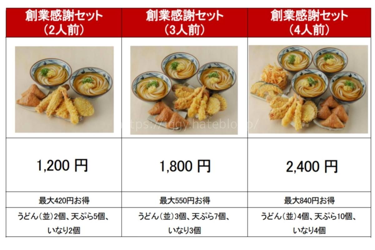 丸亀製麺 創業感謝セットメニュー 価格 お得な内容 LIFE