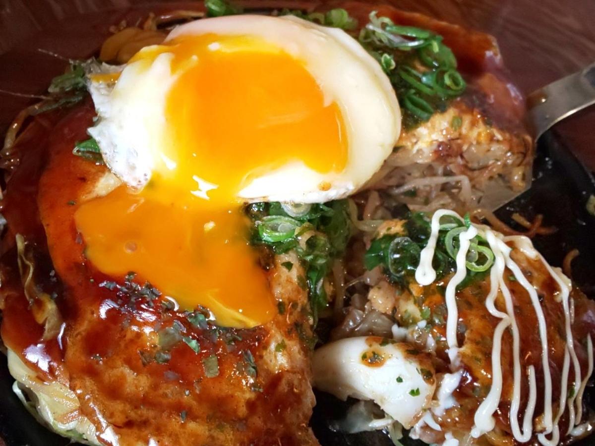 TABO(たーぼー)広島風お好み焼き「スペシャル焼」目玉焼き 感想 口コミ レビュー