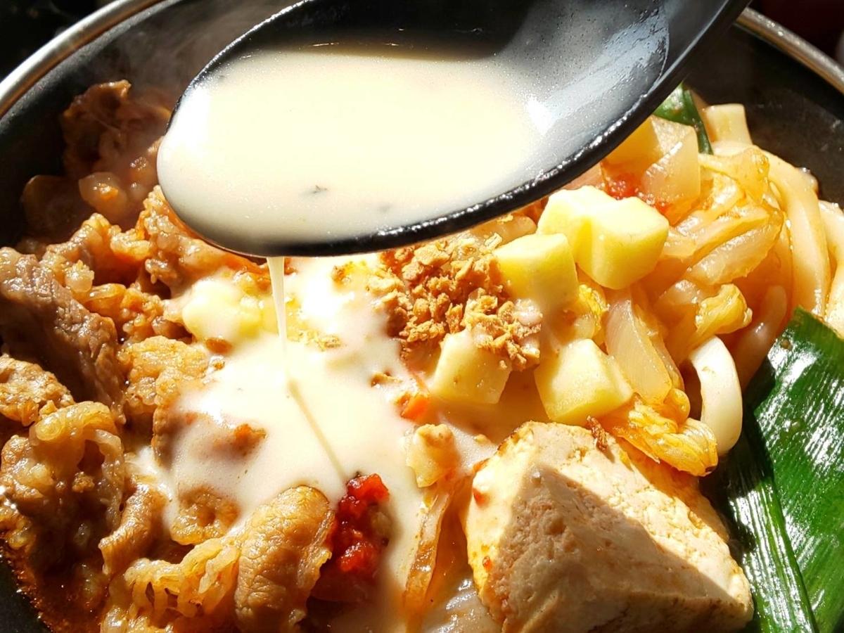 すき家 チーズ尽くしのガーリックトマト牛鍋定食 バジルチーズソース 入れる 感想 口コミ レビュー