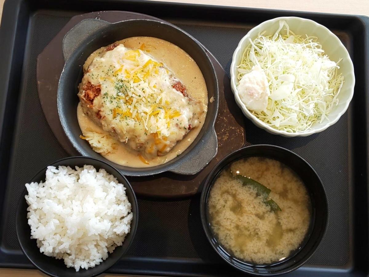 松のや シュクメルリチーズBigメンチハンバーグ定食 カロリー 口コミ レビュー