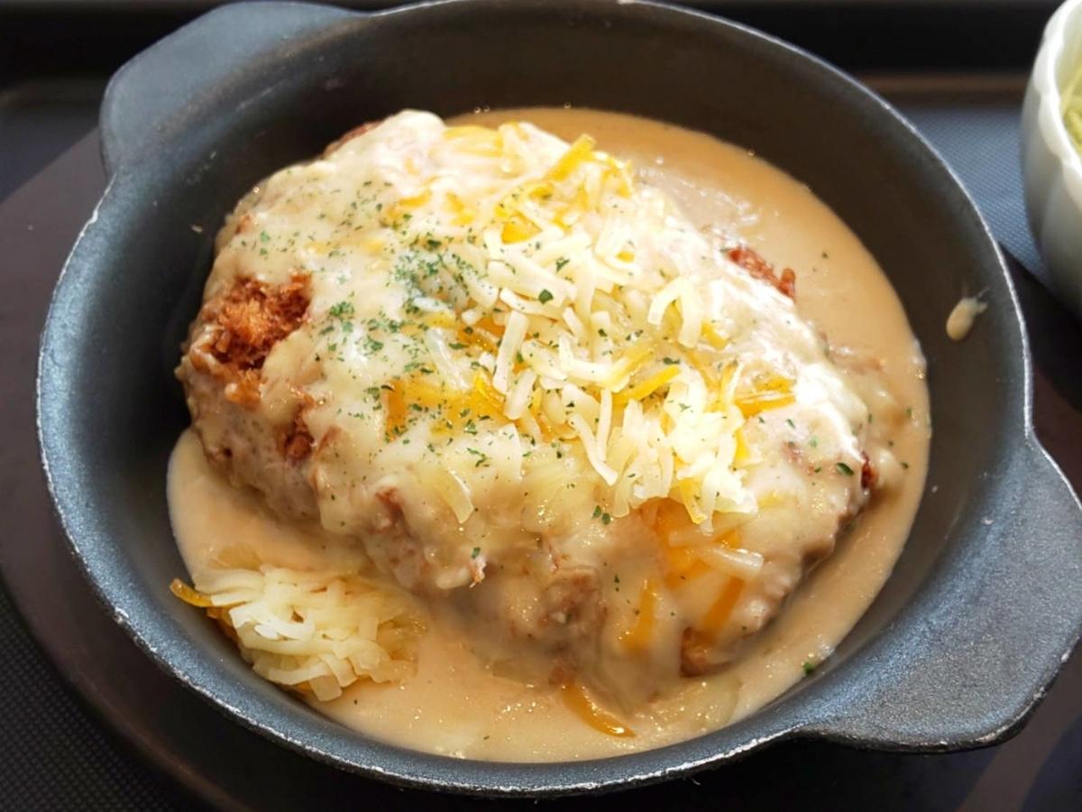 松のや シュクメルリチーズBigメンチハンバーグ定食 感想 口コミ レビュー