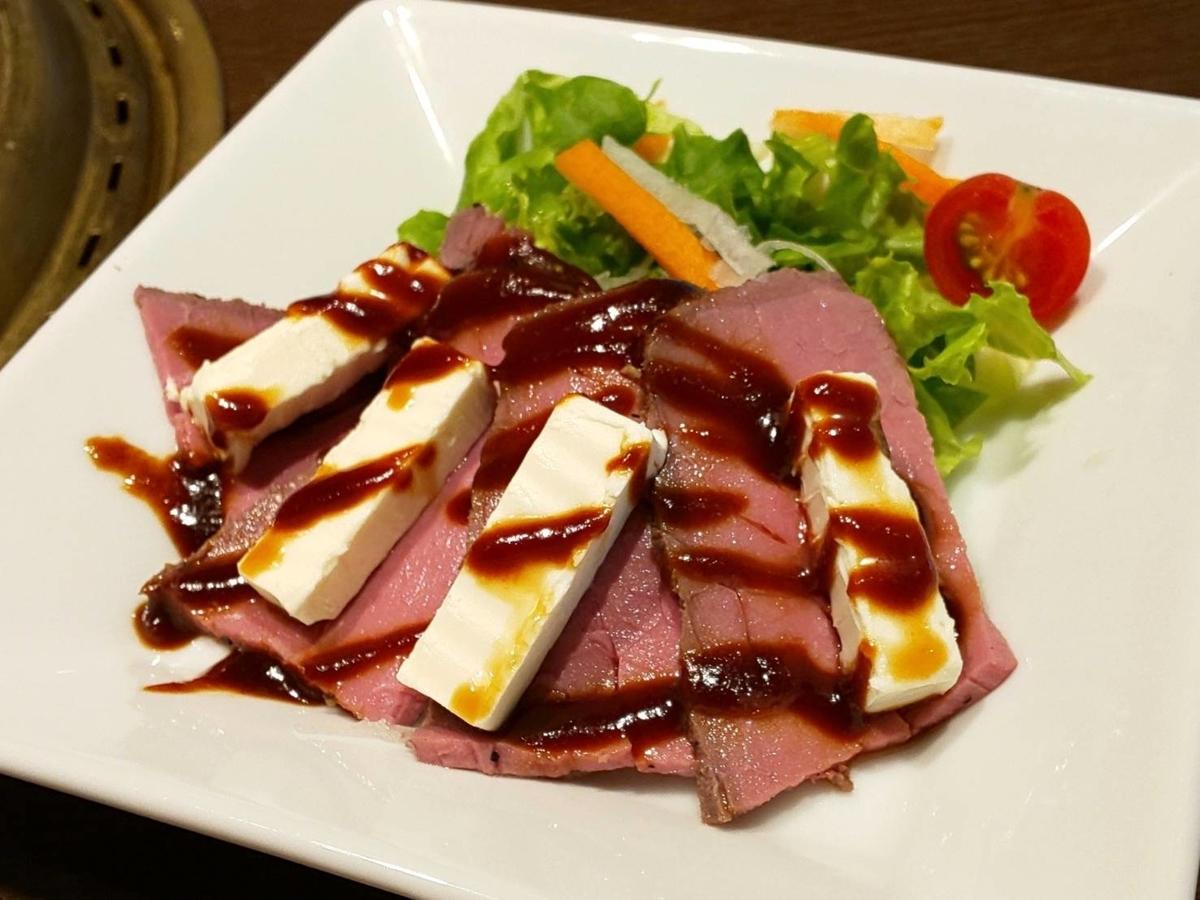 ワンカルビ 人気メニュー ローストビーフとクリームチーズのフェ 感想 口コミ レビュー