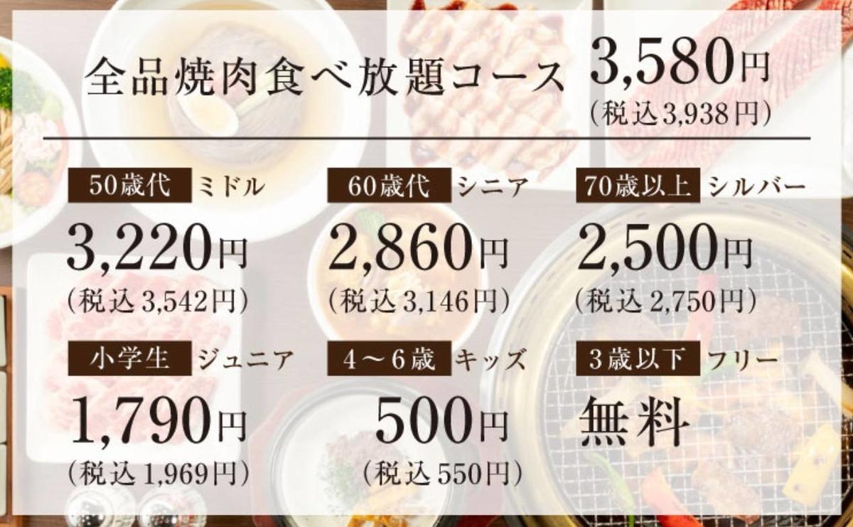 ワンカルビ メニュー 3580円食べ放題コース 値段 口コミ レビュー