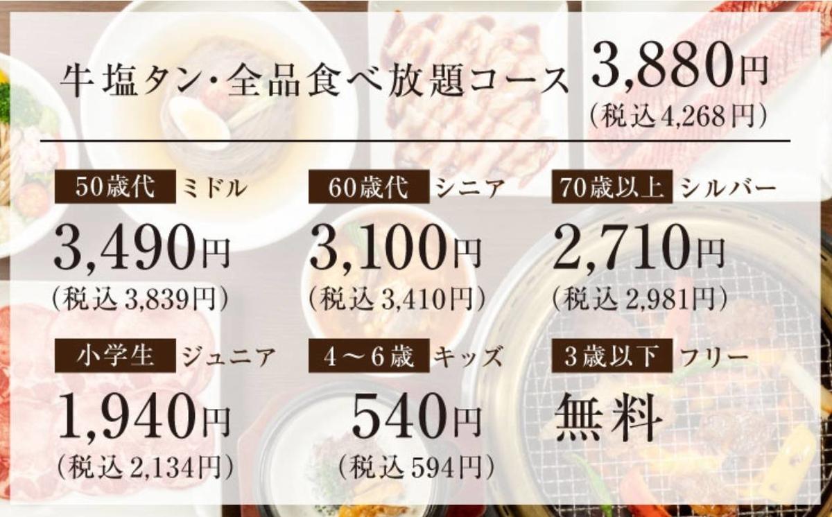 ワンカルビ メニュー 3880円食べ放題コース 値段 口コミ レビュー