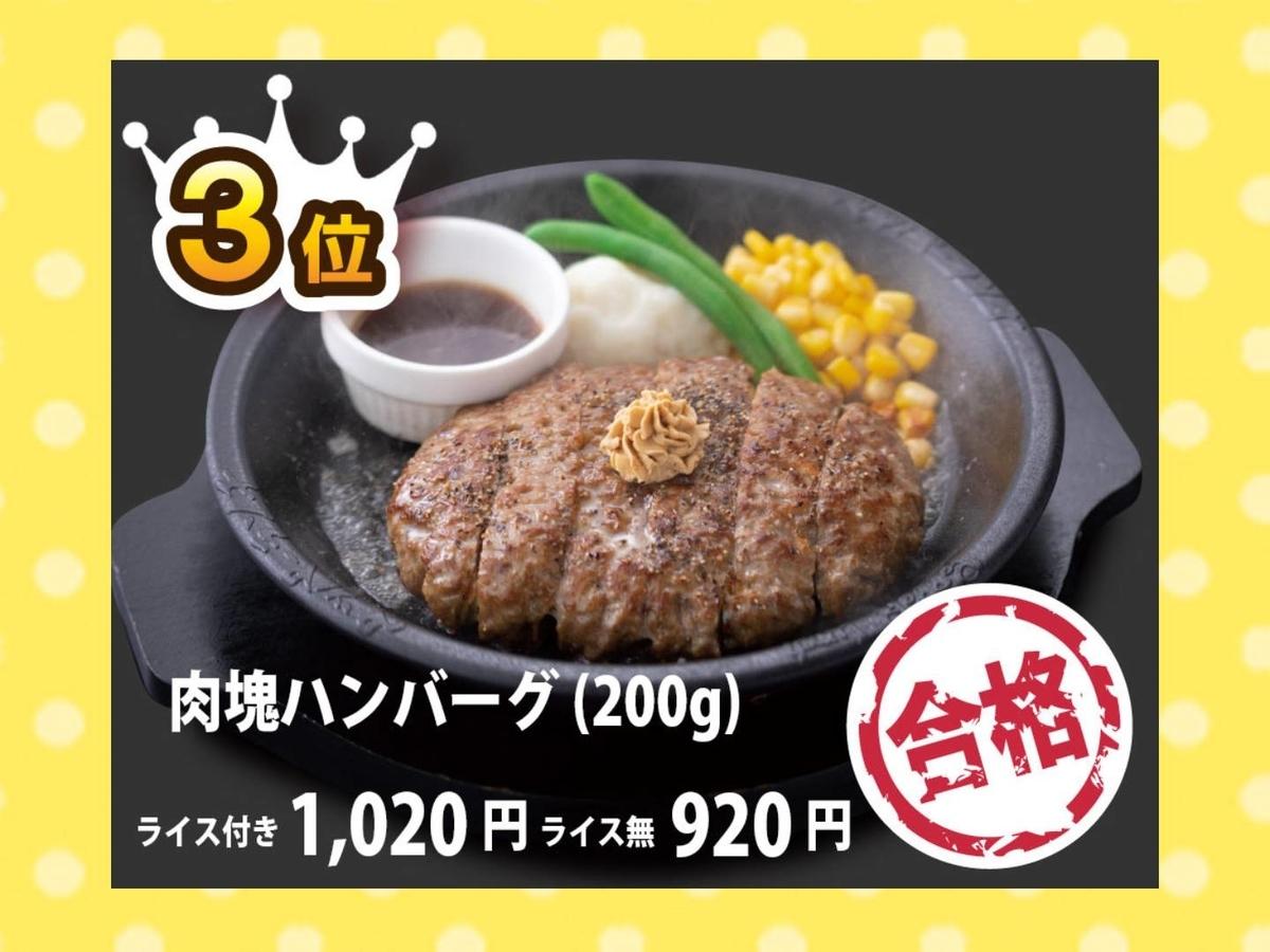 ペッパーランチ おすすめ 人気メニューランキング3位 肉塊ハンバーグ 値段 口コミ 評価