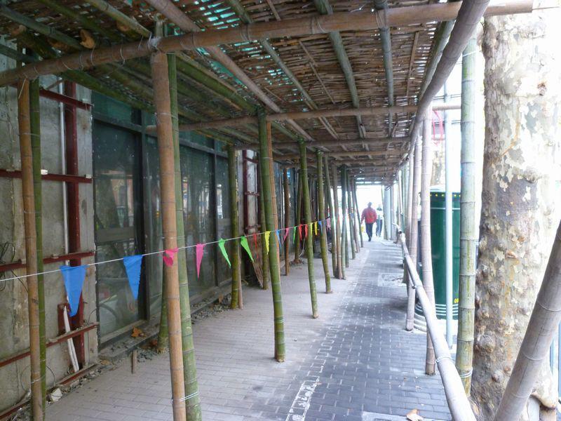上海の工事現場の足場