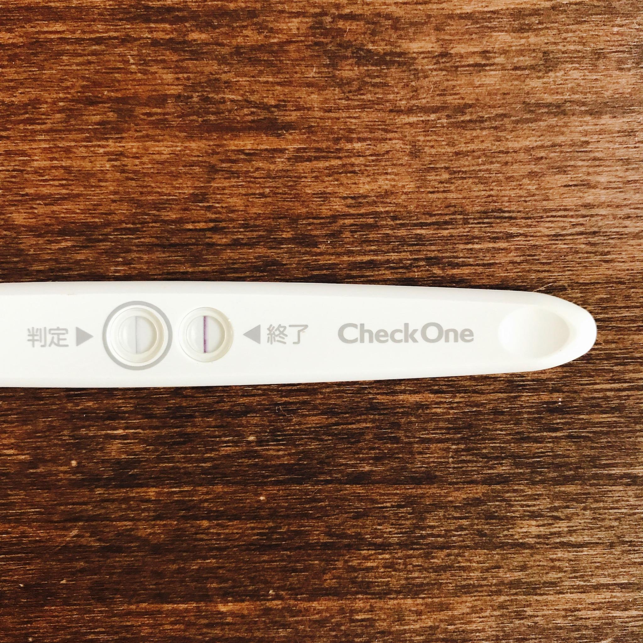 長女妊娠時高温期13日目の陽性反応チェックワン