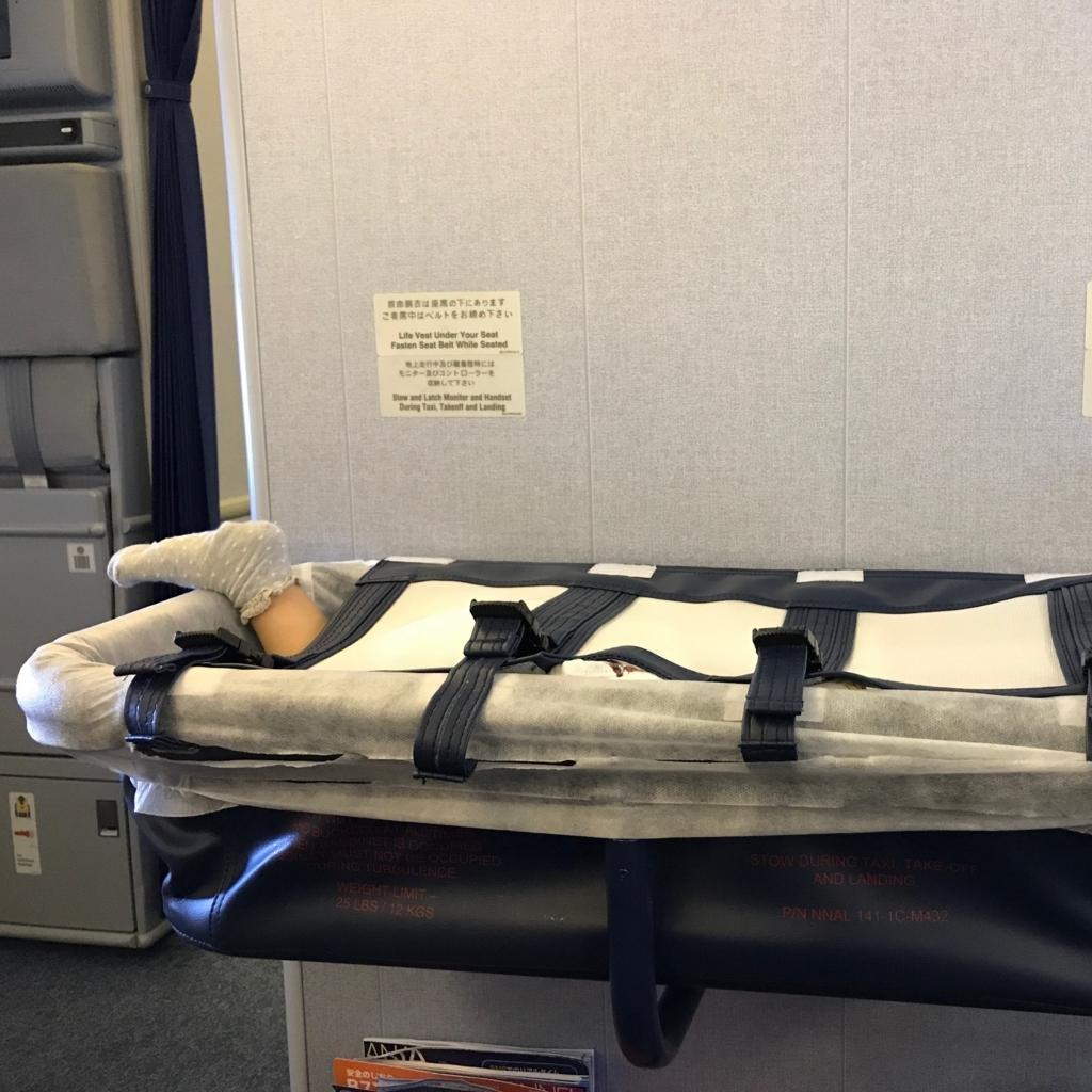 機内ベビーベッドで熟睡する1歳児の画像