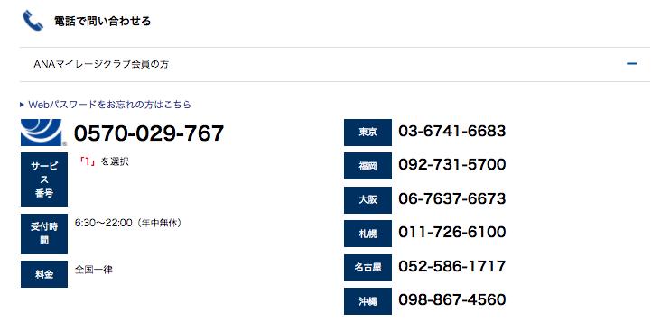 ANAマイレージ会員の問い合わせ電話番号一覧
