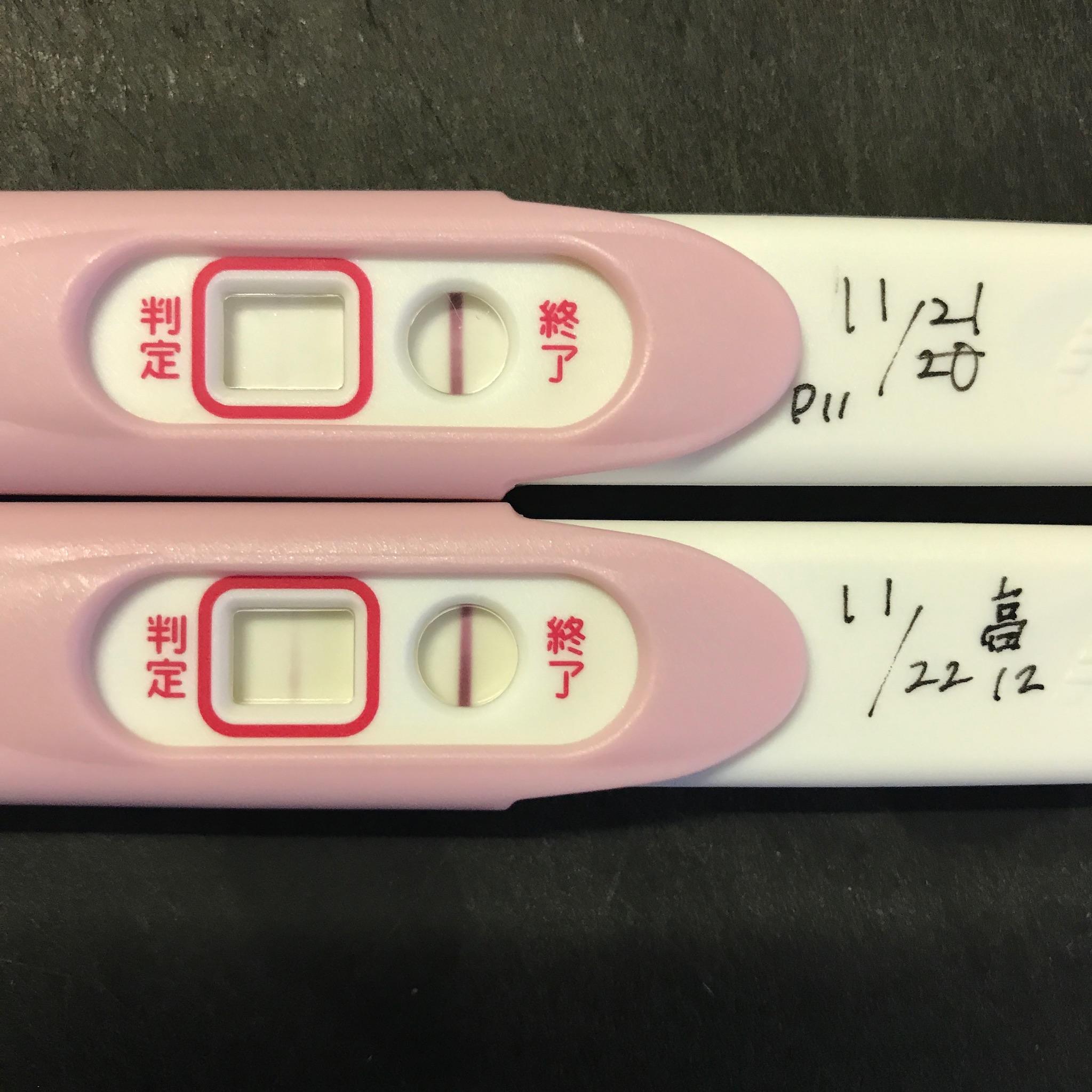 妊娠検査薬ピーチェック高温期11・12日目を並べた陽性反応線