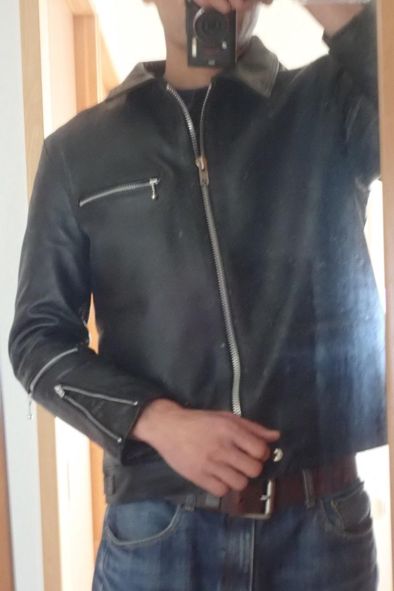 ホーンワークスのシングルライダースジャケットのサイズ感
