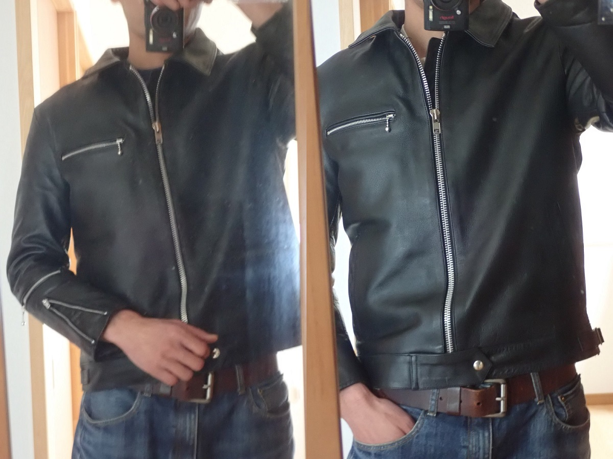 ライダースジャケット革ジャンお直し 身幅ウェスト裾幅詰め リサイズカスタム