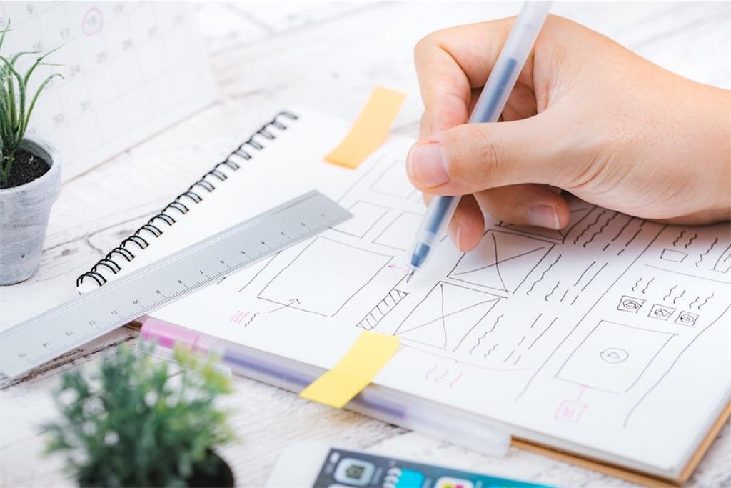 ノートにペンでサイトデザインを考えている