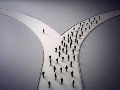皆が同じ道を歩む中で、1人我が道を行く。