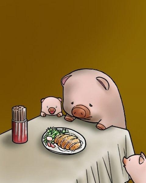 トンカツを残念そうに眺める豚。