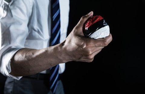 モンスターボールを握る手。
