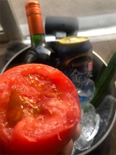 かじられたトマト。