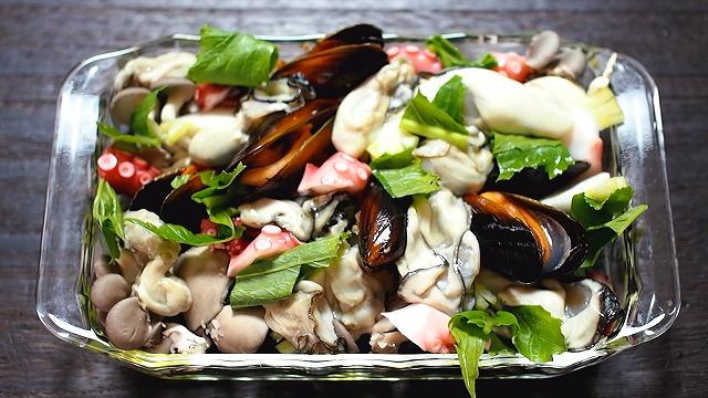 牡蠣・タコ・キノコの香草パン粉焼き工程4