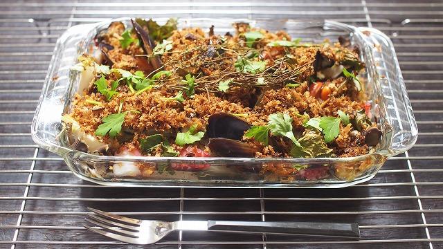 牡蠣・タコ・キノコの香草パン粉焼き2