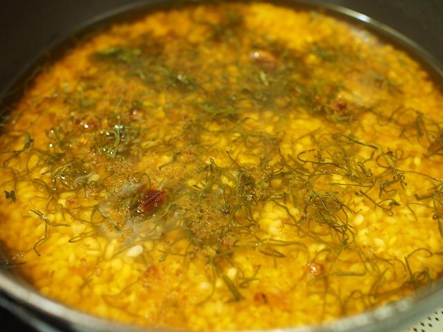 からすみとめかぶの炊き込みご飯工程1