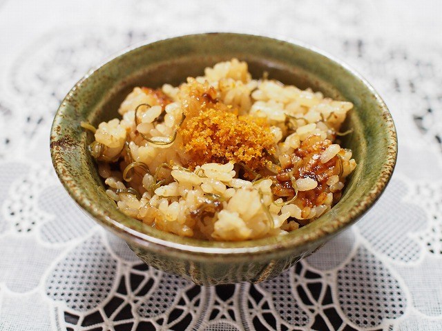 からすみとめかぶの炊き込みご飯2