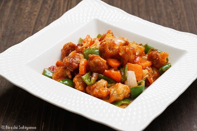 薄切り肉で作る酢豚