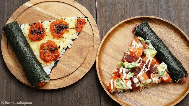 寿司ピザ2種を上から見た様子