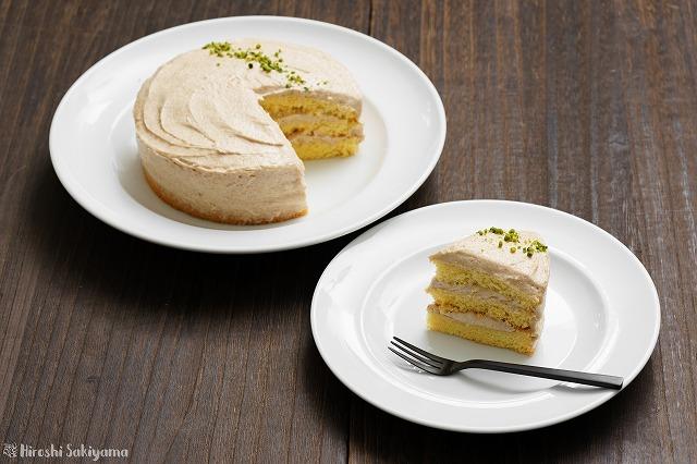 カットしたピーナッツバターのショートケーキ