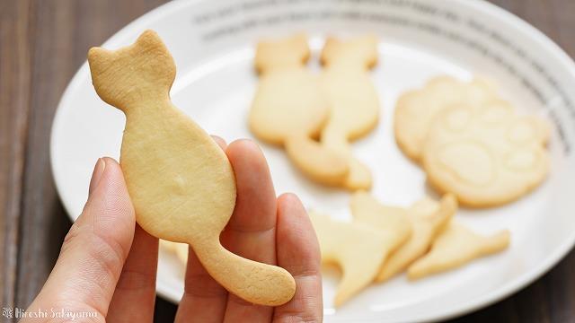 型抜き米粉クッキー、猫型