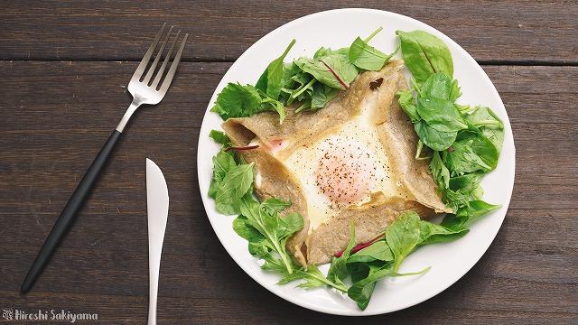 基本の卵・ハム・チーズのガレット2