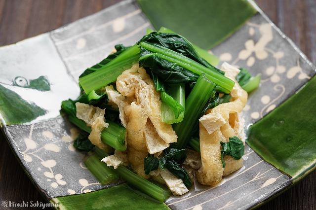 小松菜と油揚げのおひたしのアップ