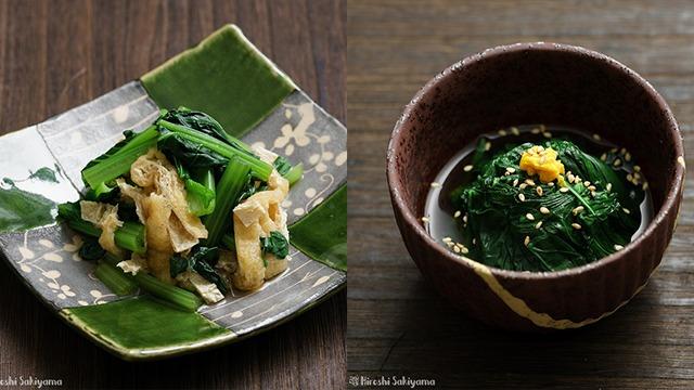 小松菜と油揚げのおひたしと、ほうれん草のおひたし