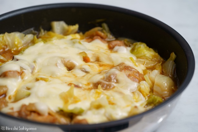 フライパンで作るチーズタッカルビのアップ