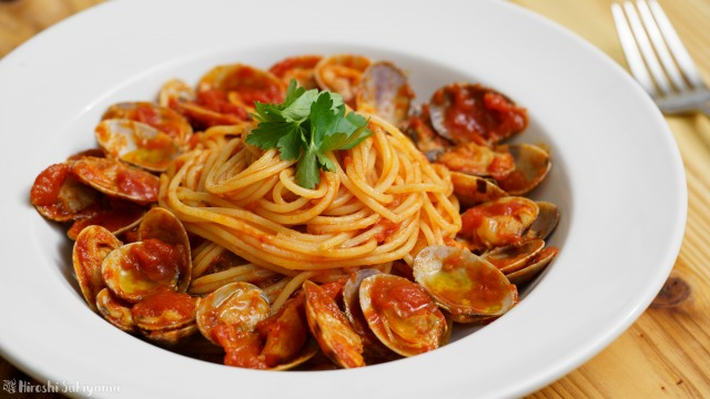 トマトソースのあさりのパスタ、ボンゴレ・ロッソのアップ