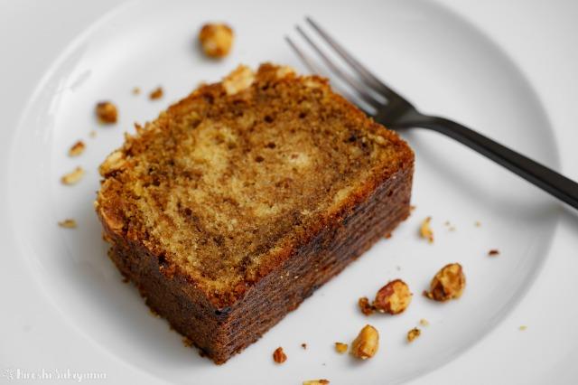 アーモンドコーヒーパウンドケーキのアップ