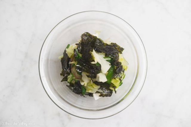 茹で野菜のナムル韓国のり和えを上から見た様子
