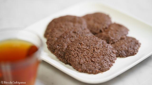 ココナッツオイルで作るココアクッキーのアップ