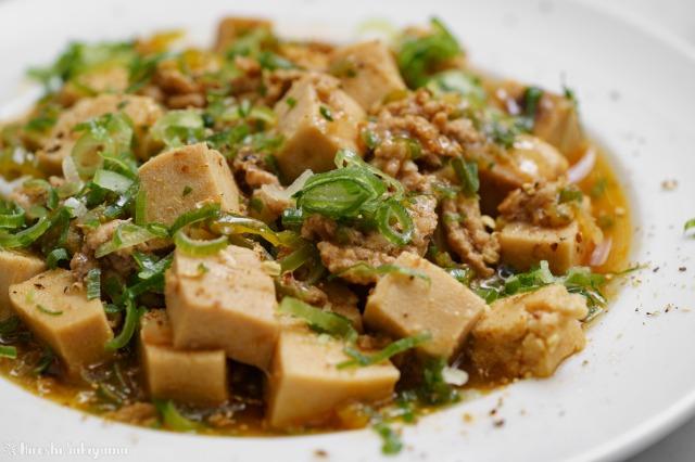 高野豆腐の麻婆豆腐のどアップ