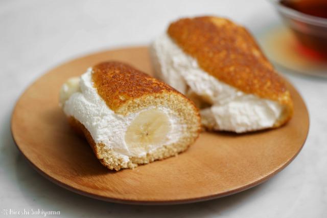 フライパンで作るバナナオムレットの断面