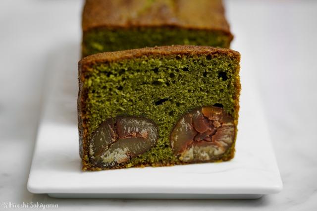 抹茶と栗のパウンドケーキの断面