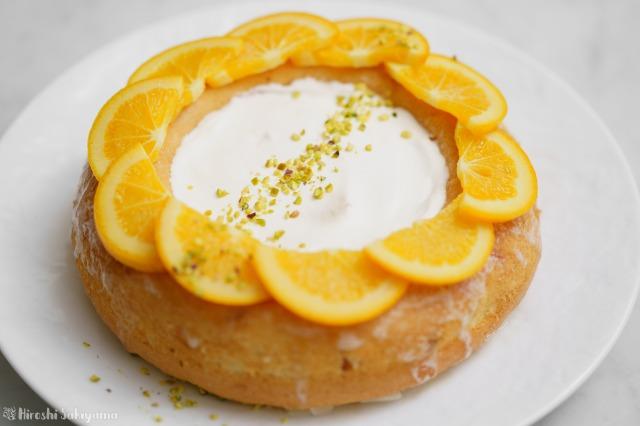 オレンジのエンゼルフードケーキのアップ